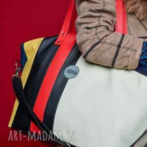 hand-made podróżne pojemna weekendowa torba podróżna w paski