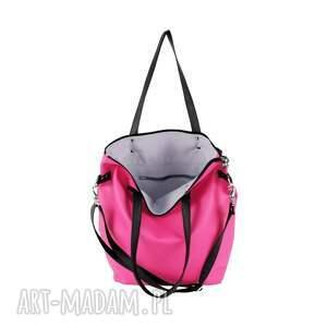 efektowne podróżne torba zestaw fuksja black (worek xl