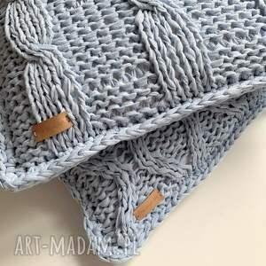 The Wool Art bawełniana poszewka na poduszkę - na drutach niebieskaposzewka