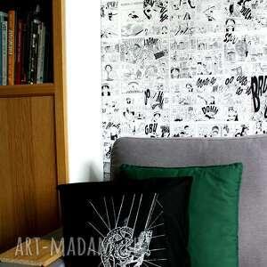 poszewka poduszki czarna z rowerem, sitodruk