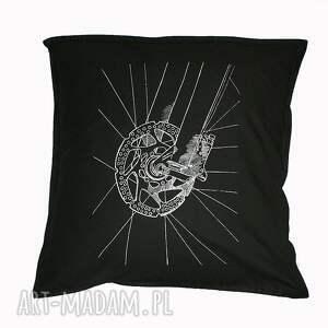 poduszki czarna poduszka poszewka z rowerem, sitodruk