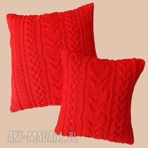 poduszki dziergana duża czerwona