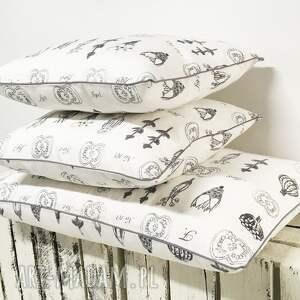 majunto poduszki: Komplet 3 poduszek dekoracyjnych z grubej bawłeny - dekoracyjne