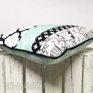 białe poduszki poduszka 45x45cm patchwork black