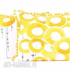 poduszka dekoracyjna poduszki żółte poszewka uszyta z bawełny. tkanina