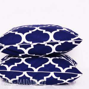 hand made poduszki koniczyna poduszka fresh navy blue 40x40cm