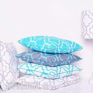 poduszki: poduszka fresh turquoise white new 40x40cm wzór marokański