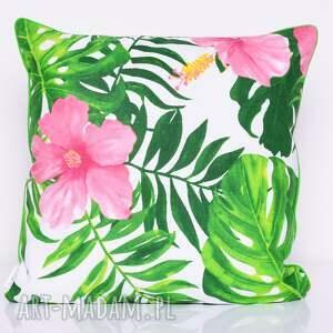 urokliwe poduszki poduszka monstera and hibiscus