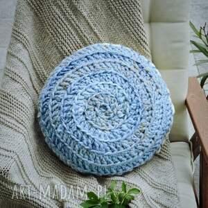 scandi poduszki poduszka niebiesko kremowa