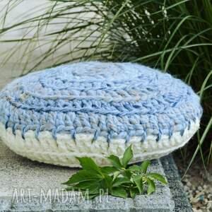 scandi poduszka niebiesko kremowa