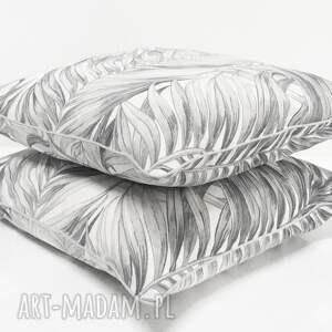 majunto poduszki: Poduszka Palm Leaves - GREY 40x40cm - szare liście w-liście