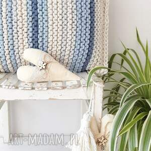 CudaRenki białe poduszki poduszka pasiak blue