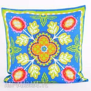 niebieskie poduszki folk poduszka raz na ludowo - ziele&#324