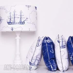 niebieskie poduszki poduszka w-statki sea map 40x40cm od majunto