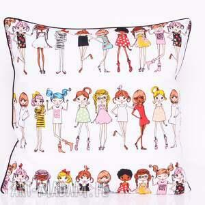 białe poduszki poduszka dziecięca stylish girls 50x50cm