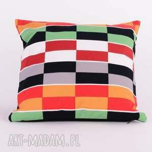 poduszki: Poduszka w kolorowe prostokąty 40x40cm od majunto dekoracyjna