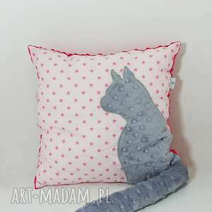 ciekawe poduszki poduszka-z-kotem poduszka z kotem i ogonem 3d szary