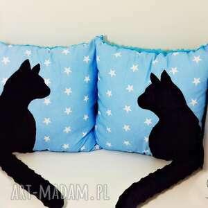 turkusowe poduszki poduszka z-kotem z kotem i ogonem 3d czarny
