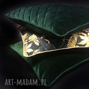 szare poduszki złota poduszka złote liście
