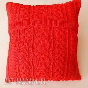 dziergana poduszki duża czerwona