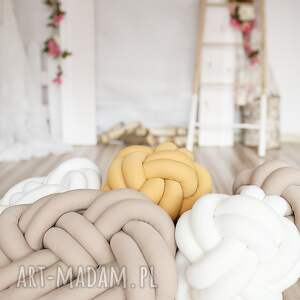 poduszki: ręcznie pleciona dekoracyjna poduszka supeł precel knotpillow 40x30 knot pillow
