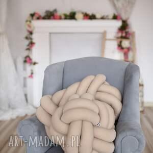 poduszki: ręcznie pleciona dekoracyjna poduszka supeł precel knotpillow 40x30 supły