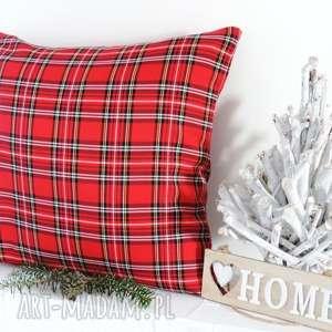ręczne wykonanie poduszki poduszka stylowa czerwona w szkocką