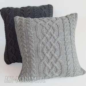 wyjątkowe poduszki miękka szara warkoczowa poduszka