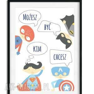 superbohater pokoik dziecka niebieskie 3 plakaty a3 z superbohaterami