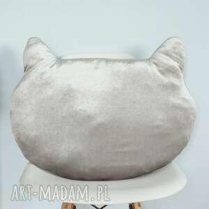 szare pokoik dziecka poduszka aksamitna kocia główka