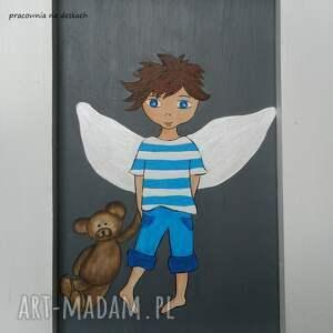 szare pokoik dziecka anioł stróż stróz chłopiec