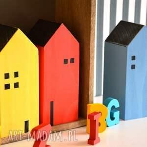 domki pokoik dziecka czerwone 3 drewniane