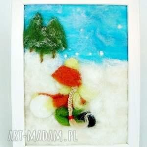 zima pokoik dziecka zielone dziewczynka lepiąca bałwana. Obraz