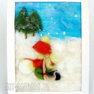 turkusowe pokoik dziecka zima dziewczynka lepiąca bałwana. Obraz