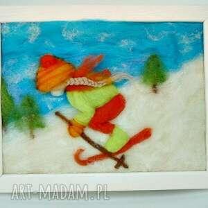 niebieskie pokoik dziecka narty dziewczynka szusująca na nartach