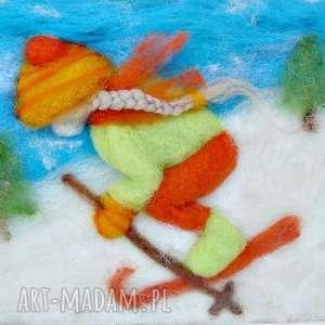 unikalne pokoik dziecka narty dziewczynka szusująca na nartach
