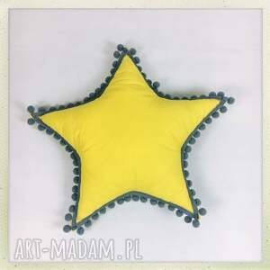 ręcznie wykonane pokoik dziecka żółty gwiazdka żółta z pomponikami
