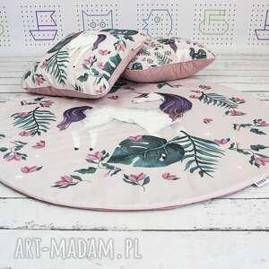 różowe pokoik dziecka dywanik jednorożce welurowa mata do zabawy