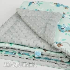 niebieskie pokoik dziecka kocyk minky miętowy szary