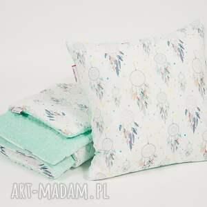turkusowe pokoik dziecka kocyk minky - miętowe łapacze snów