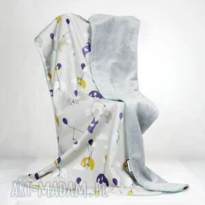 fioletowe pokoik dziecka dziecko kocyk minky 75x100 słoniki