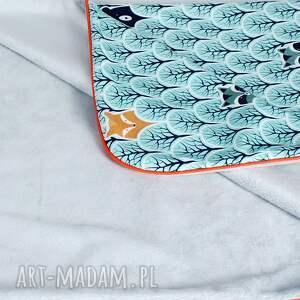 turkusowe pokoik dziecka dziecko kocyk minky 75x100 leśne zwierzęta
