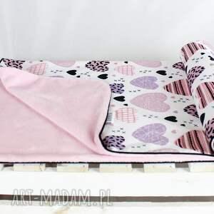 różowe pokoik dziecka kołderka kocyk minky 100x75 serca róż