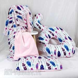 ręcznie zrobione pokoik dziecka niemowlak kocyk minky 75x100 pióra róż