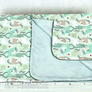 ręcznie wykonane pokoik dziecka niemowlę kocyk minky 75x100 jelenie szary
