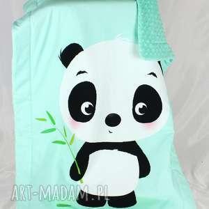 białe pokoik dziecka panda kocyk minky 100x75
