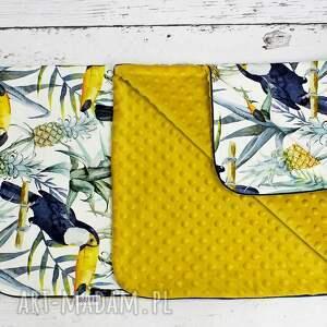 żółte pokoik dziecka minky kocyk 75x100 tukany