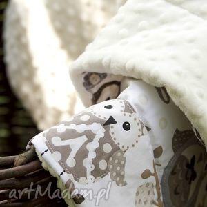 białe pokoik dziecka prezent kocyk minky 75x100 - sowy