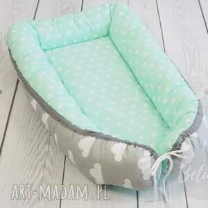 turkusowe pokoik dziecka niemowlęcy kokon otulacz szaro