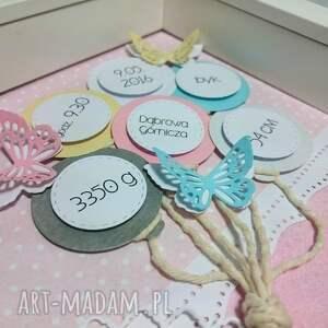 metryczka pokoik dziecka różowe kolorowo -motylkowa dla